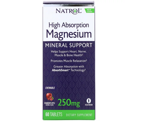Natrol, High Absorption Magnesium, Cranberry Apple Natural Flavor, 250 mg, 60 Tablets.