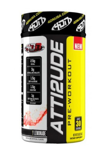 4DN 4 Dimension Nutrition Atti2ude Pre-Workout Powder - Raspberry Lemonade, 30 Servings