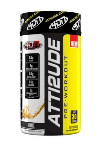 4DN 4 Dimension Nutrition Atti2ude Pre-Workout Powder - Orange, 30 Servings