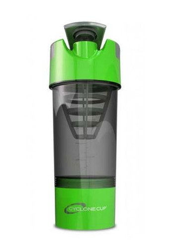 Cyclone Cup Protein Shaker Bottle with Compartment - Green Smoked, 22 Oz