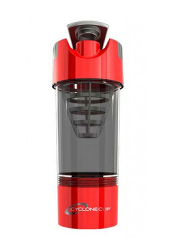 Cyclone Cup Protein Shaker Bottle With Compartment - Smoked Red, 20 Oz