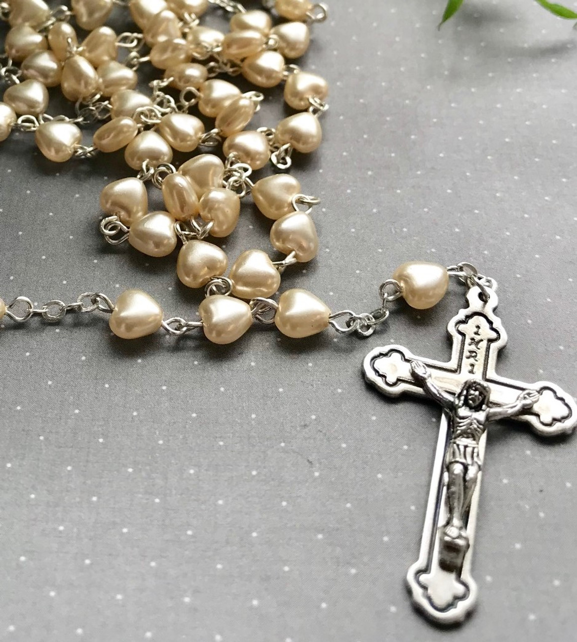 Personalised Rosary Beads - Glass Hearts