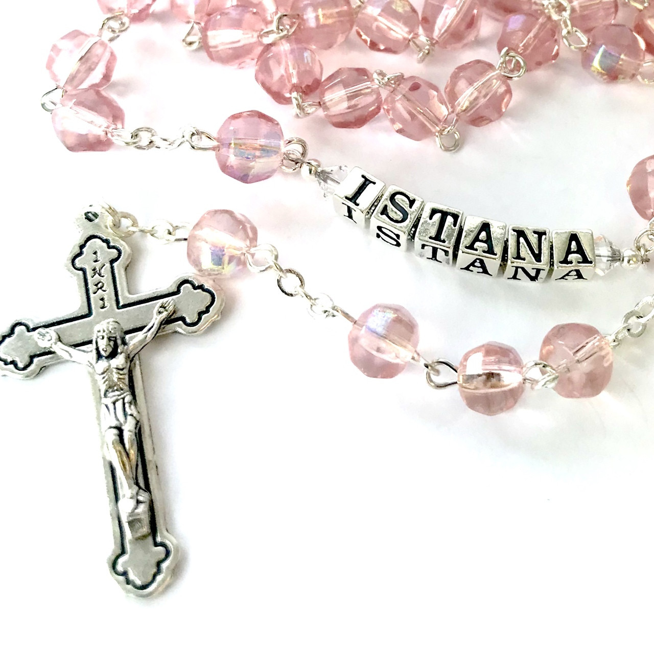 3e320177b Buy Personalised Pink Rosary Beads - Crystal 6mm By Gifted Memories ...