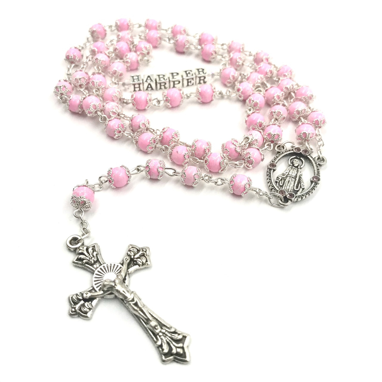 be54a32b6 Personalised Pink Rosary Beads - Crystal Blessed Mother By Gifted ...