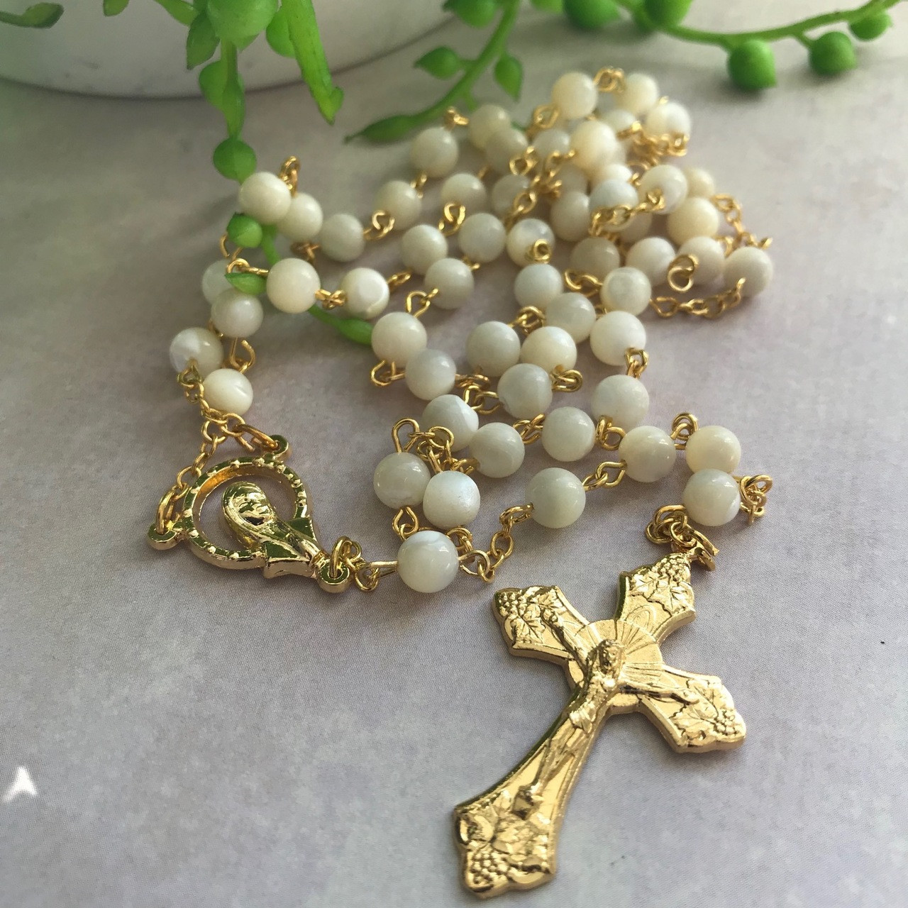 b36b3e700 Gold-Plated and Mother Of Pearl Pearl Rosary Beads By Gifted Memories Faith