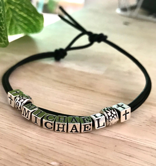 Boys Silver and Leather Name Reconcilliation Bracelet
