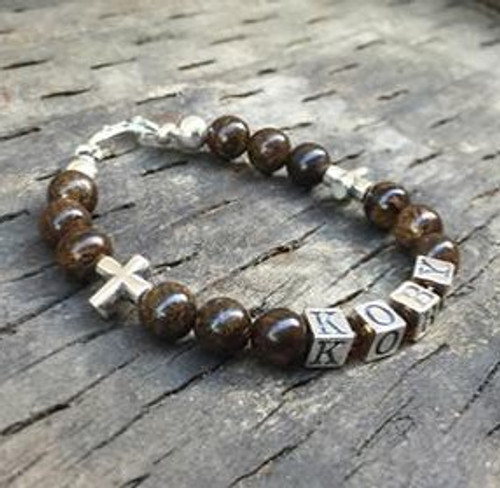 New baby or Christening Gift Personalised Baby Crystal and Tiger Eye Bracelet