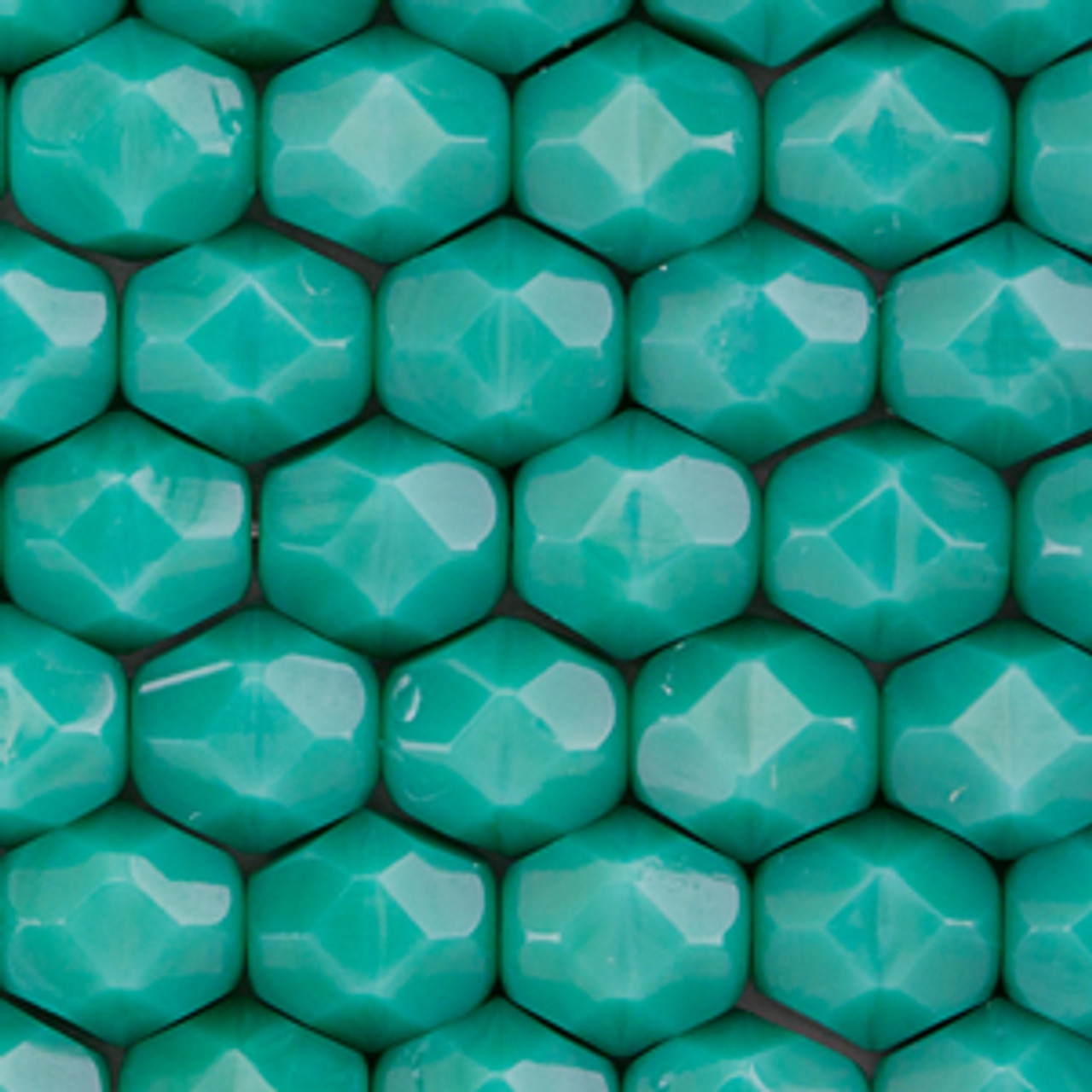 Persian Turquoise 6mm 25 Firepolish Czech glass Faceted Round Beads