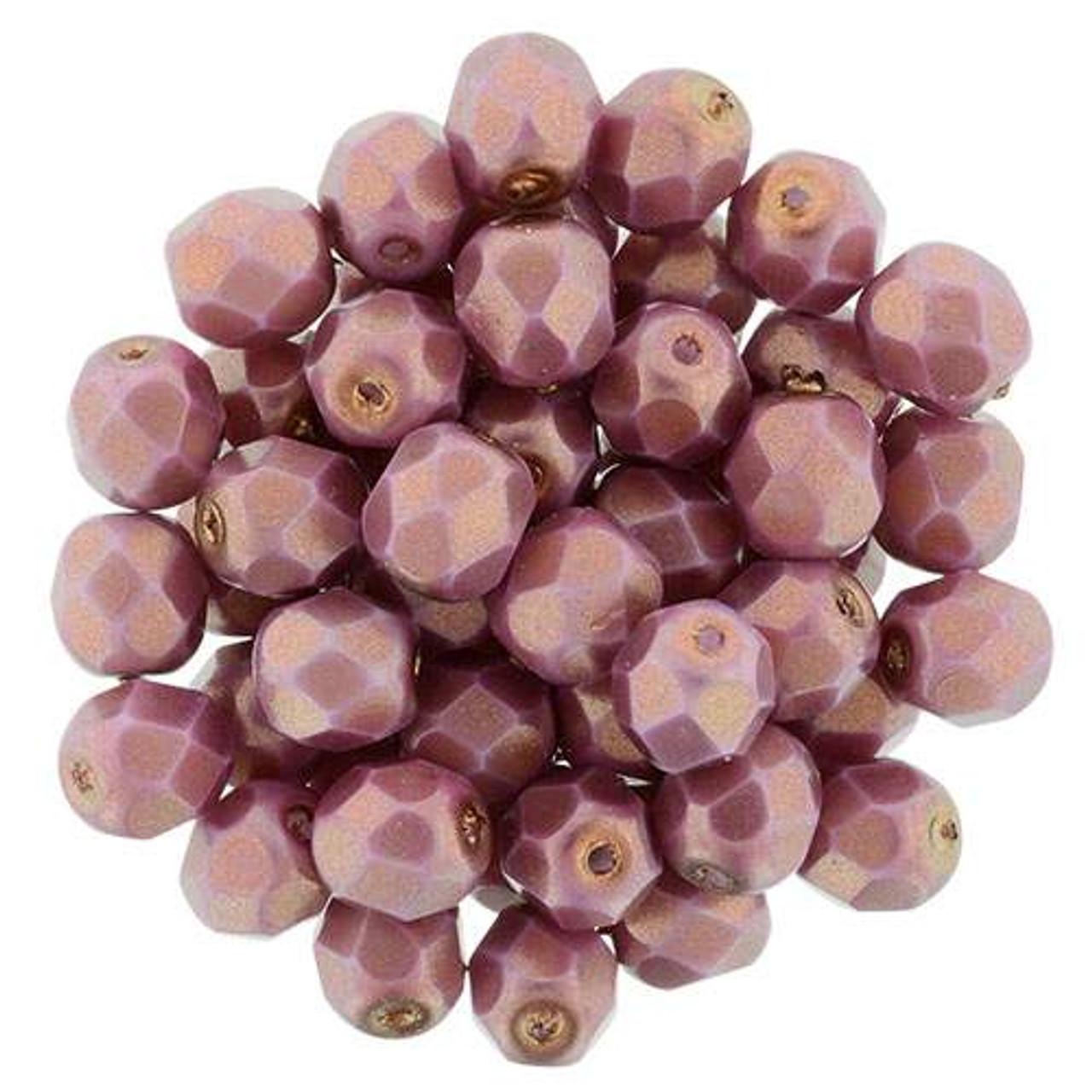 25 6 mm Czech Glass Firepolish Beads Stone Pink Luster
