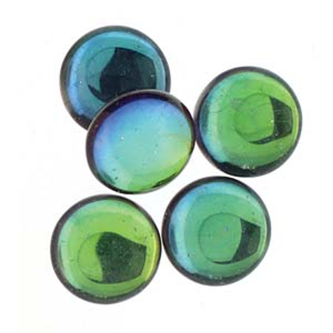 Three Pair Vintage Glass Cabochons 18mm Round Pageantry Assortment