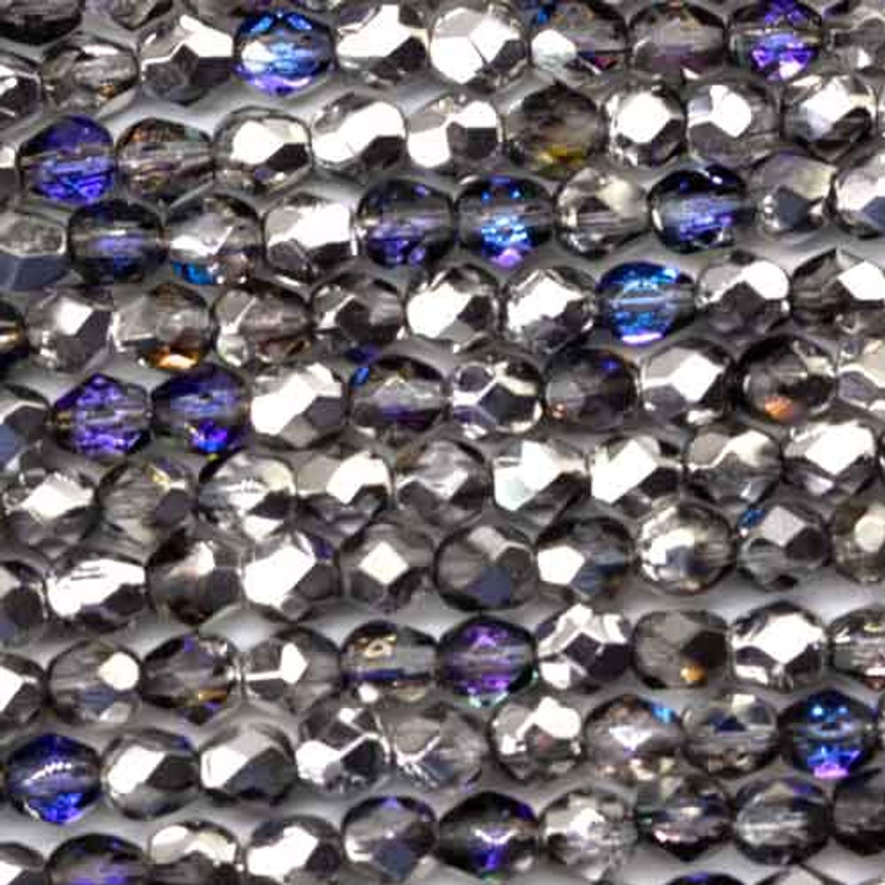 50 3mm Twilight Crystal Czech Faceted Firepolish Glass Beads