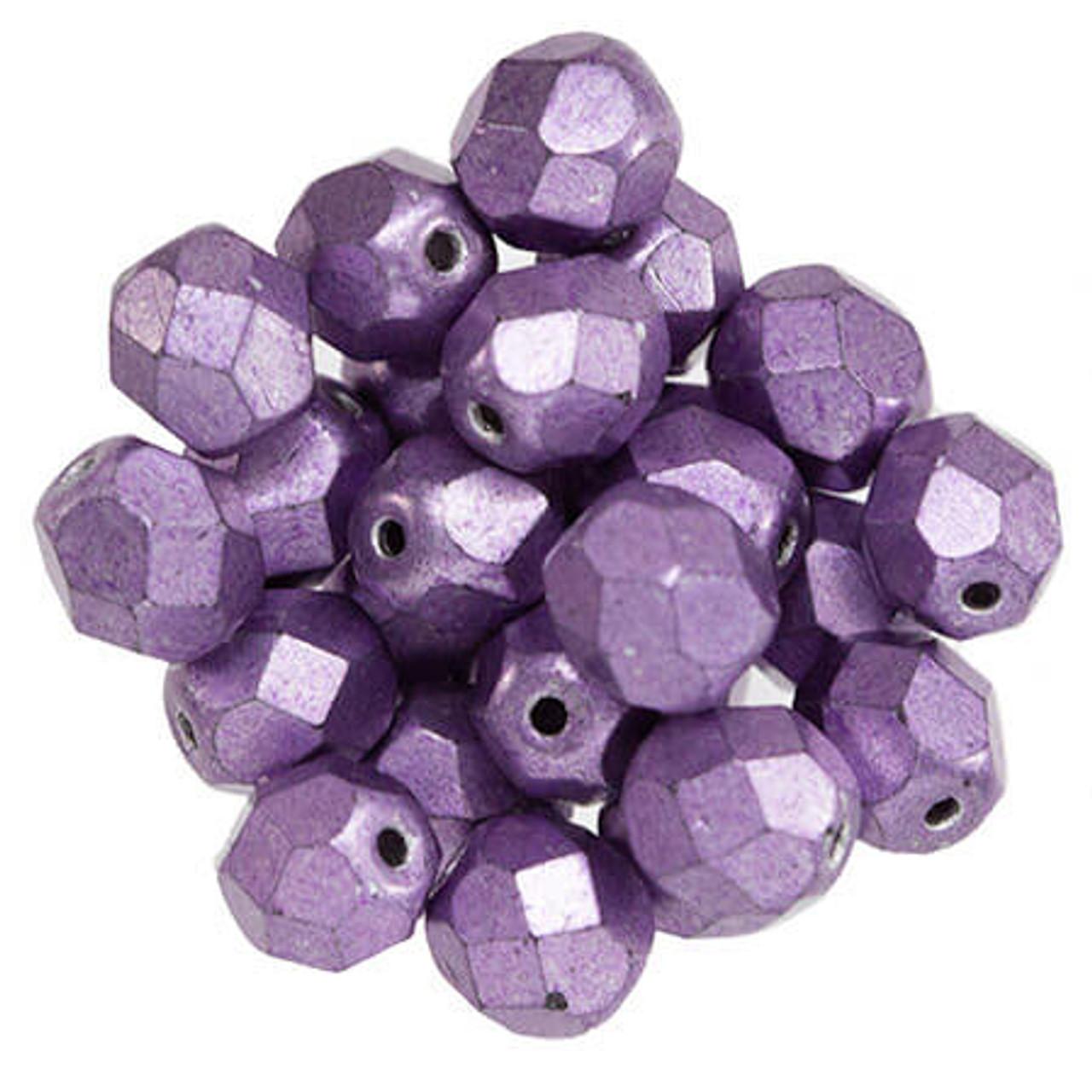 25 6mm Czech Glass Firepolish Beads Saturated Purple