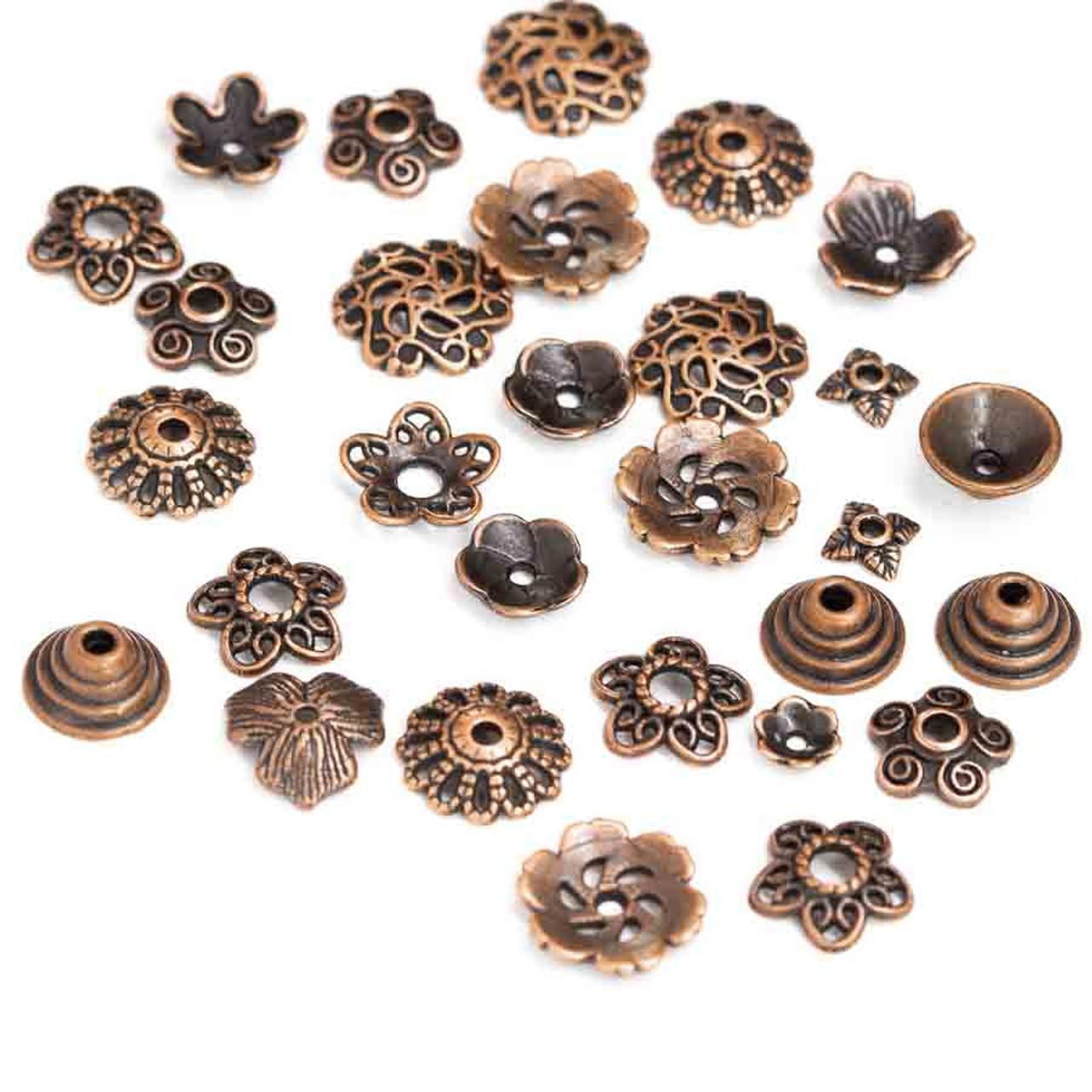 40 9.5 MM Copper Filigree Bead Caps