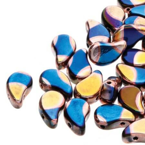 24203 Metalust Crown Blue 30 count Paisley Duo Bead 2 Hole Glass Beads, 8x5mm