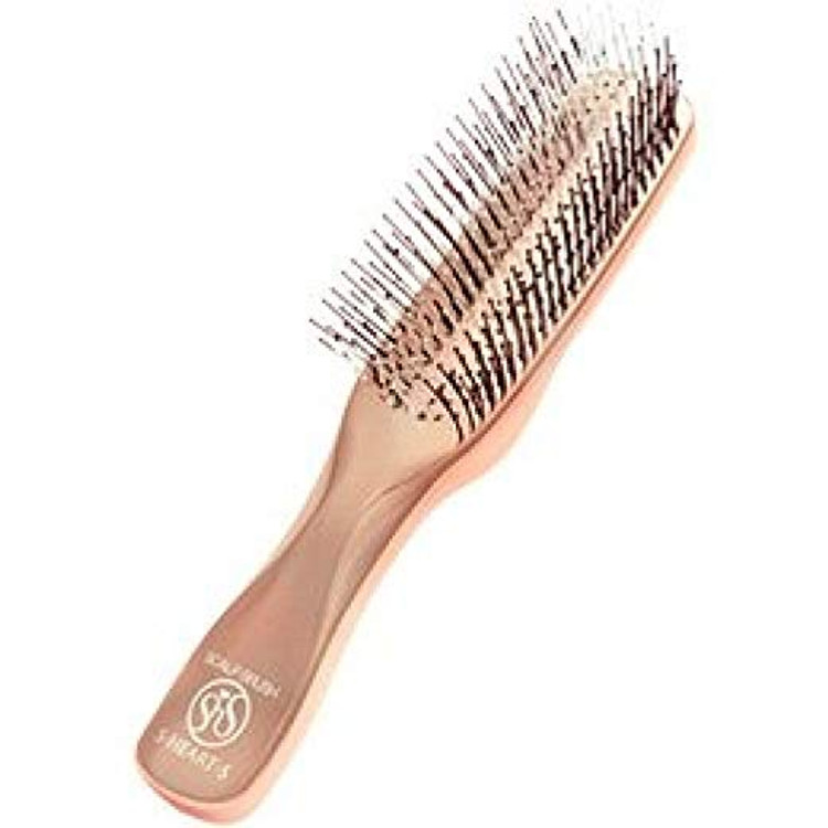 S-Heart-S Scalp Stimulating Scalp Brush gently removes residues and flakes improving the health of the scalp to help promote hair growth.