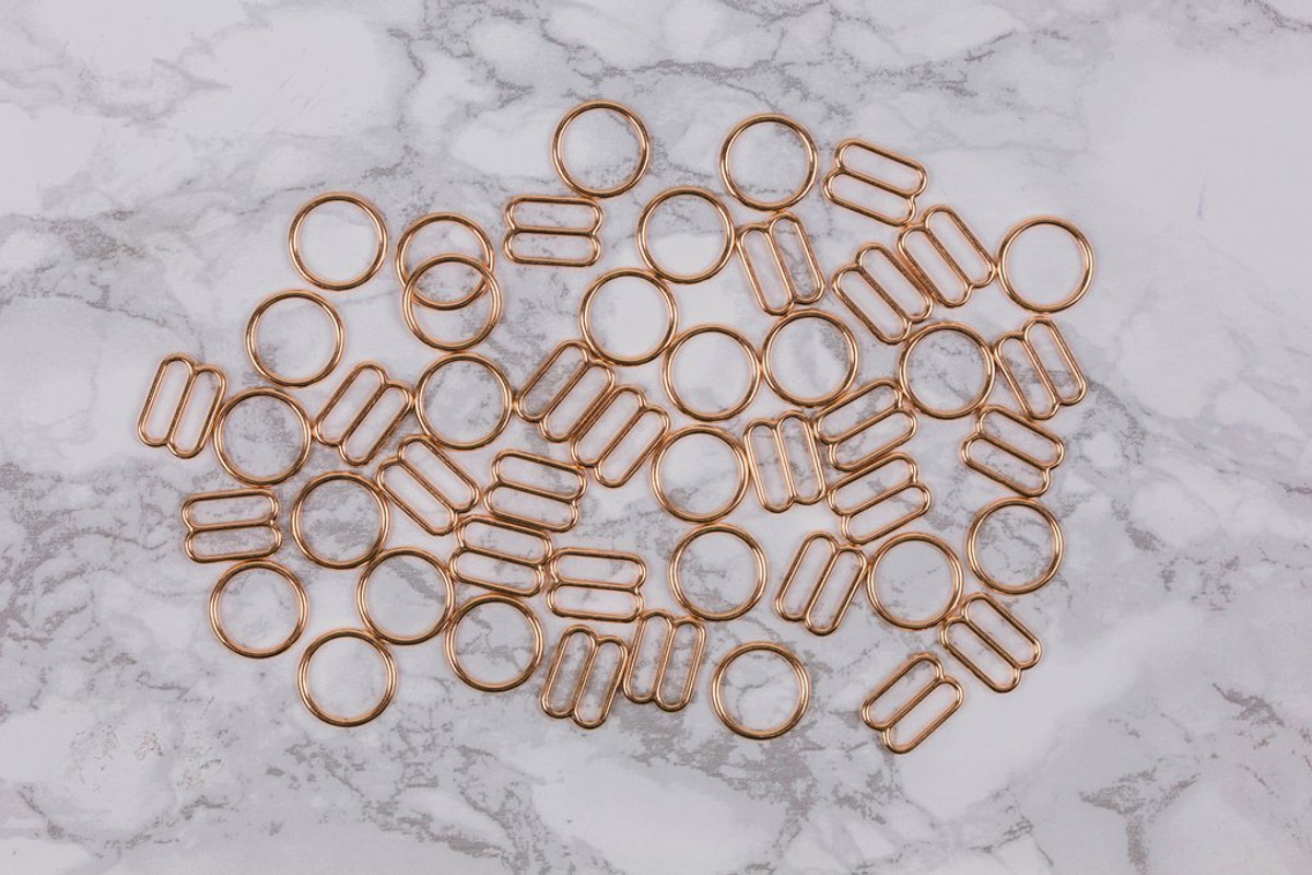 """5/8"""" Rose Gold Metal Rings and Sliders PREMIUM Nickel Free By The Set or By The Dozen"""