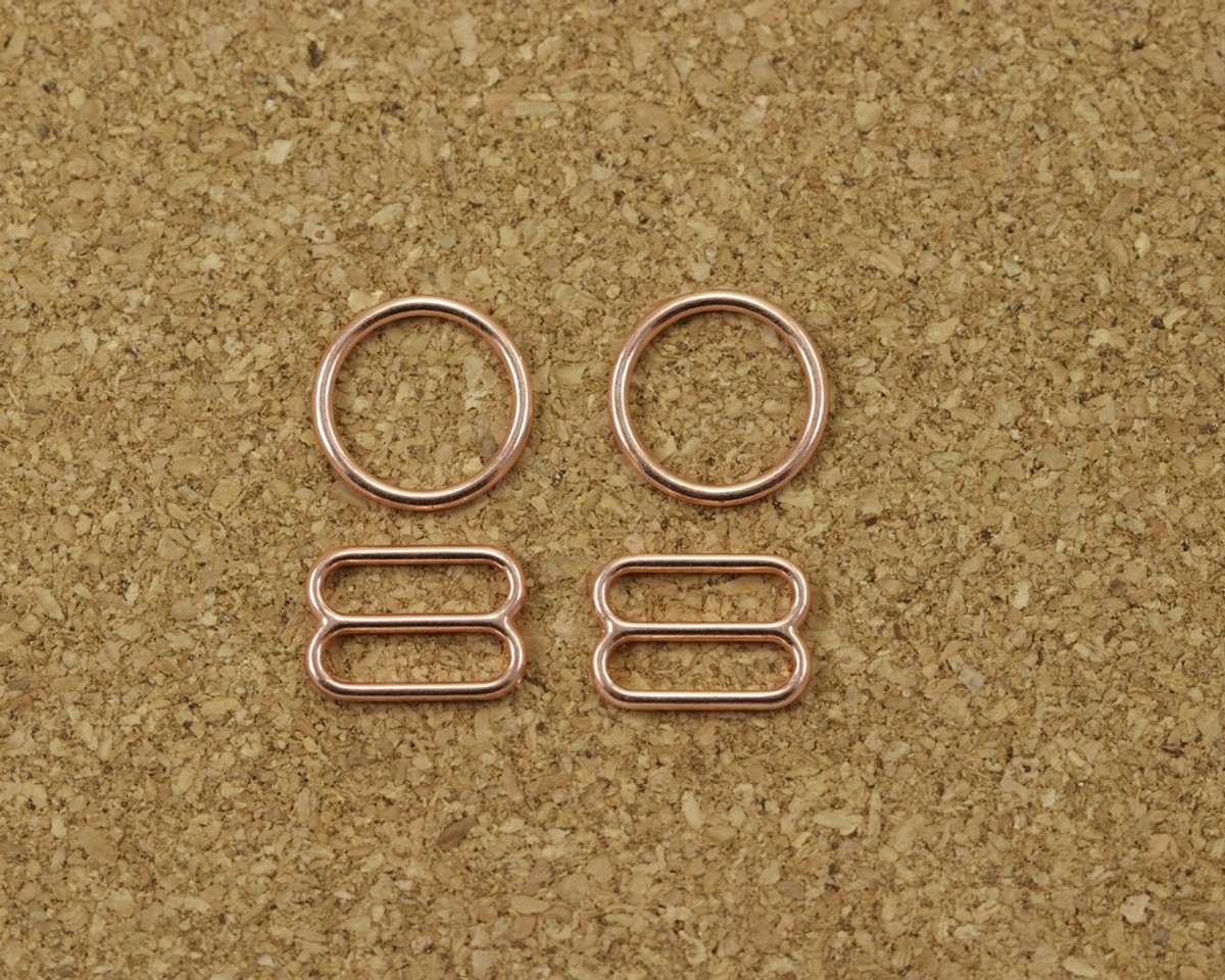 """3/8"""" Rose Gold Metal Rings and Sliders PREMIUM Nickel Free By The Set or By The Dozen"""