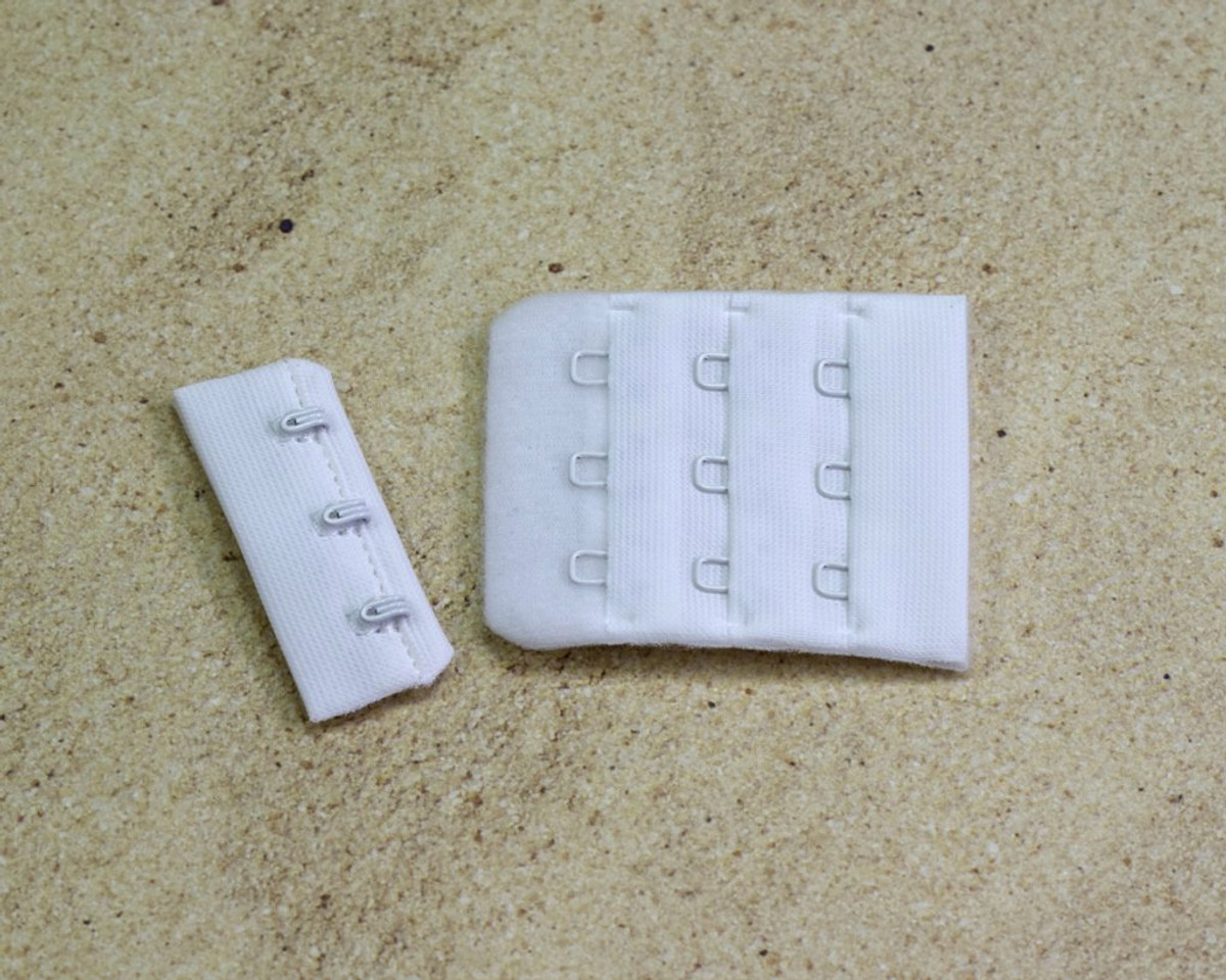 "White 3 Hook and Eye Bra Back Closures 1.75"" x 2"" DYEABLE"