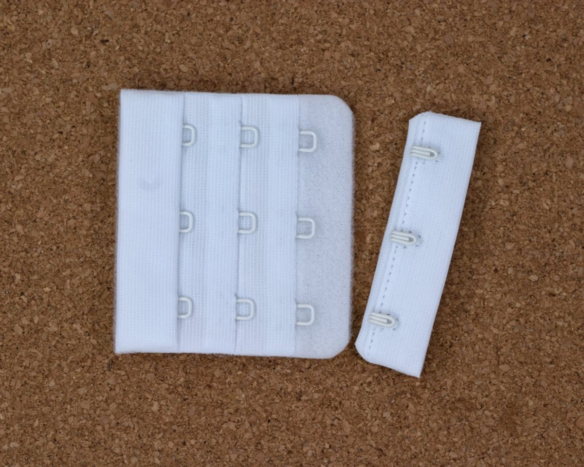 """White 3 Hook and Eye Bra Back Closures 2.25"""" x 2"""" DYEABLE"""