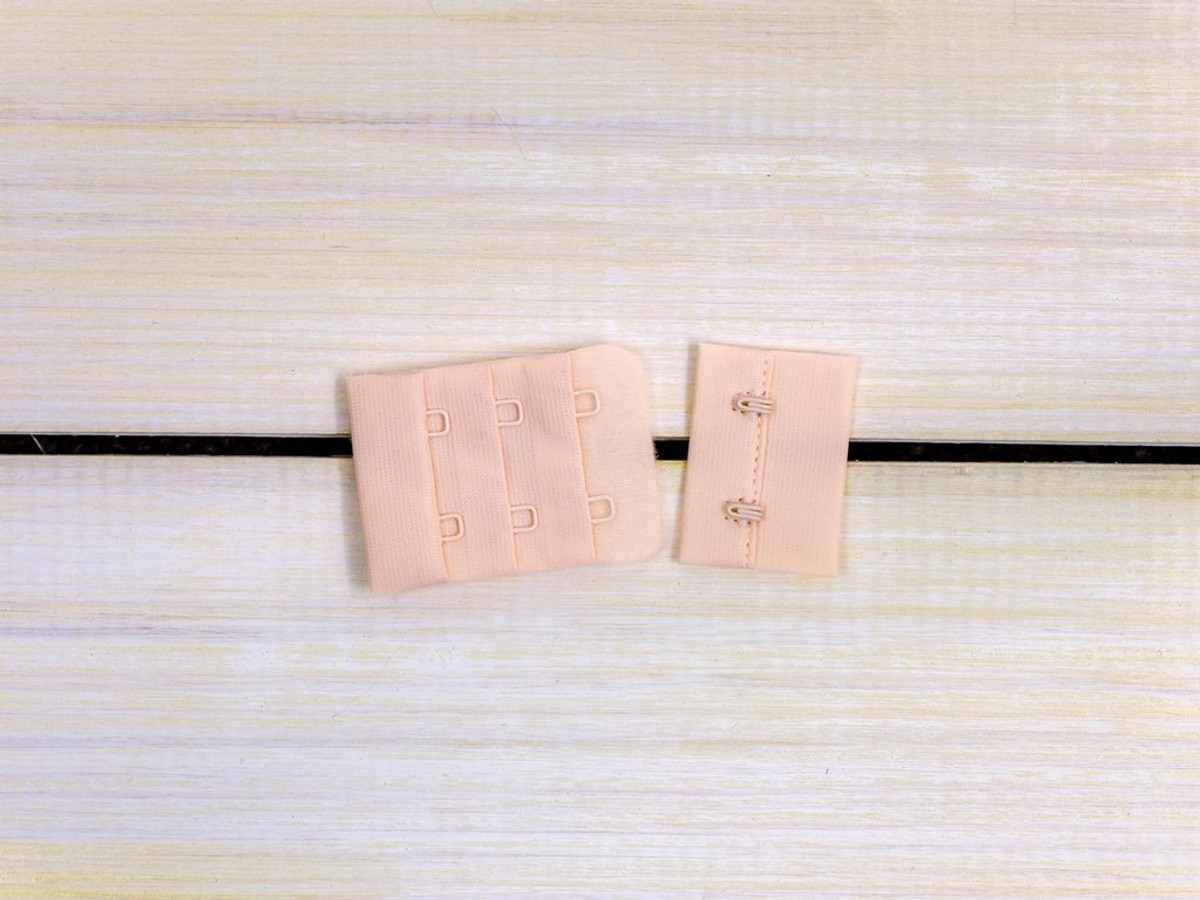 "Champagne Beige 2 Hook and Eye Bra Back Closures 1.5"" x 2"""