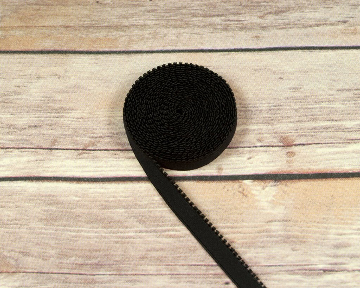 "1/2"" Black Plush Back Finishing Elastic Picot Edge Latex Free By The Yard"
