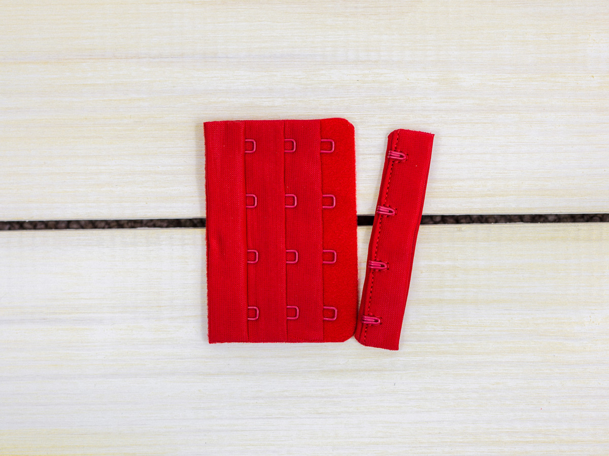 """Red 4 Hook and Eye Bra Back Closures 3"""" x 2"""""""