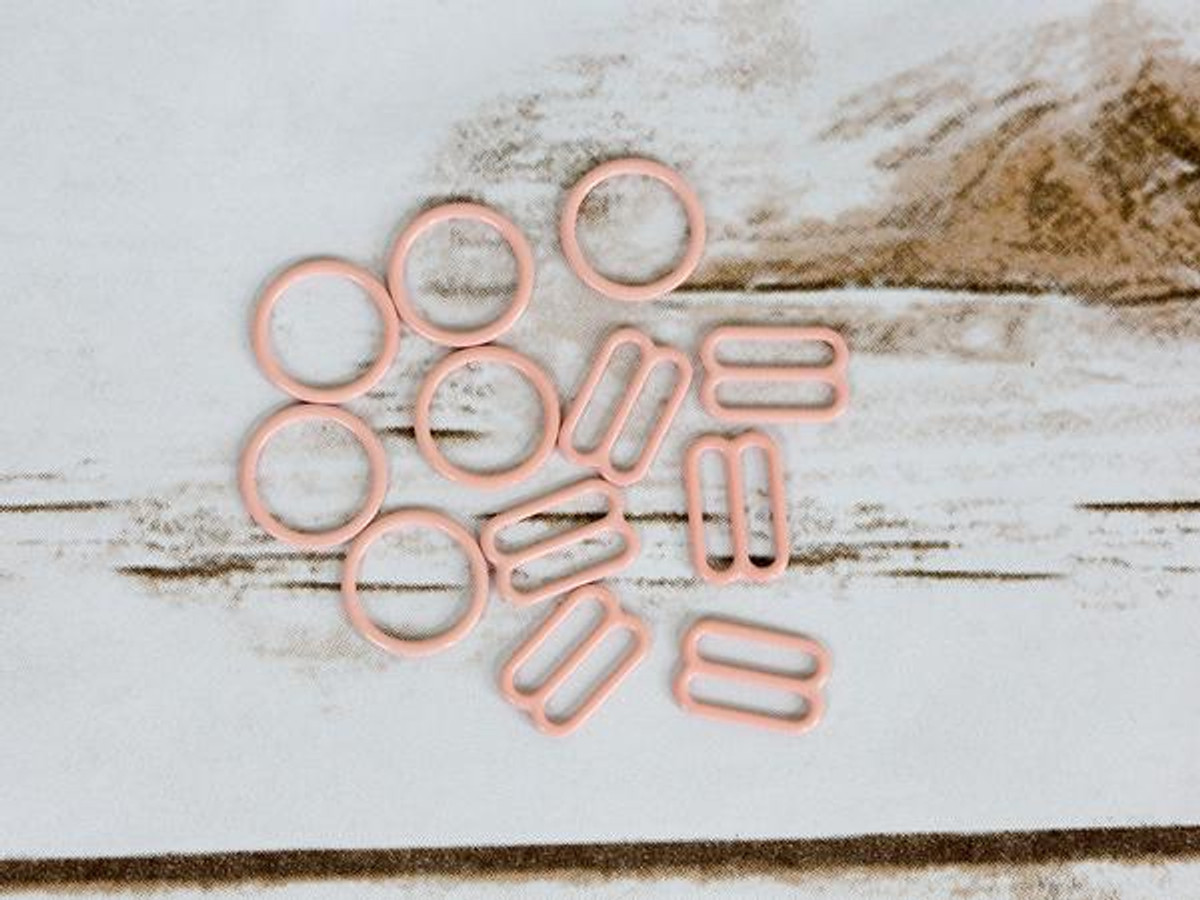 """5/8"""" Rose Quartz Pink Nylon Coated Metal Rings and Sliders By The Set"""