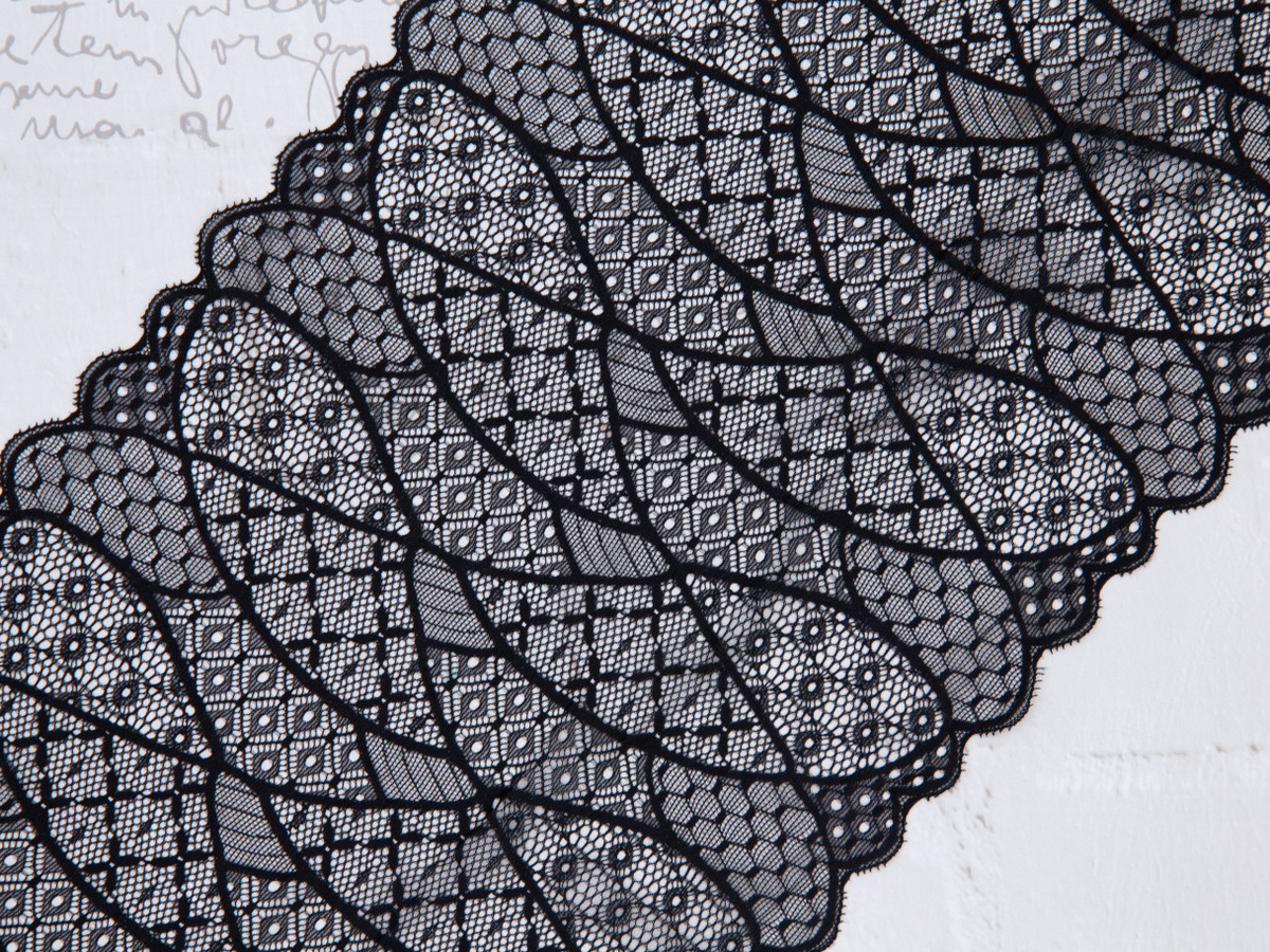 """8.5"""" Black Patchwork Style Stretch Lace By The Yard"""