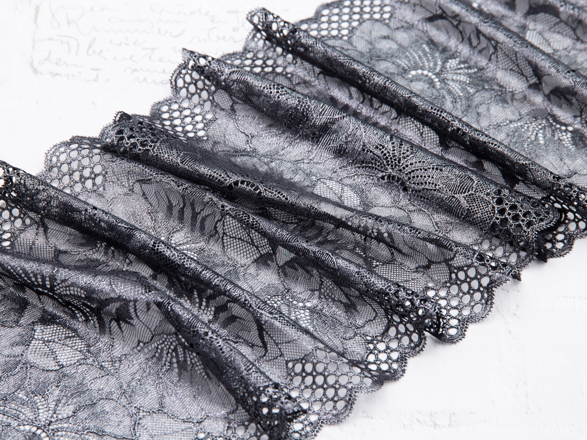 "8.5"" Black Metallic Stretch Lace By The Yard"