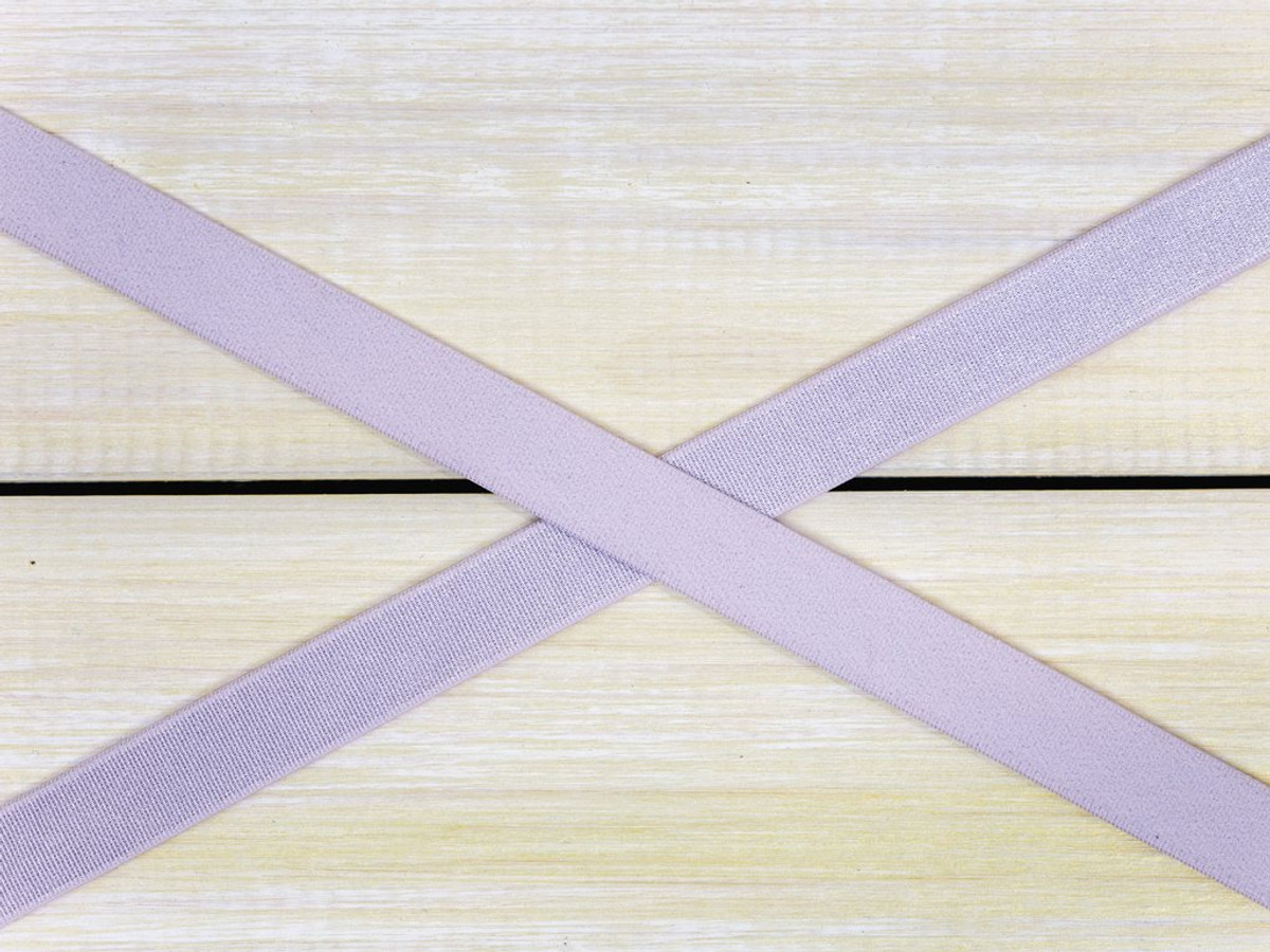 "1/2"" Lavender Fog Satin Faced Plush Back Strap Elastic By The Yard"