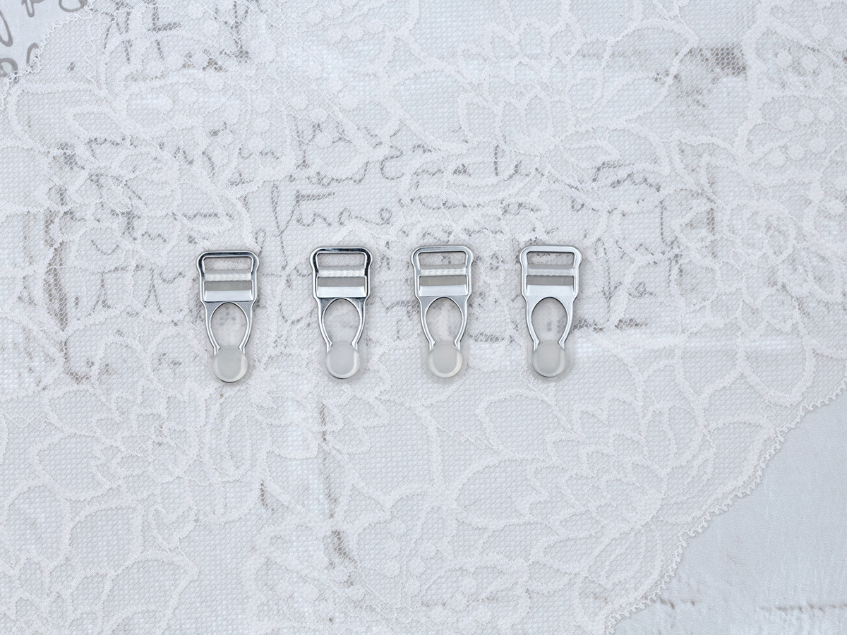 """1/2"""" Silver Garter / Suspender Clips Clear Grippers"""