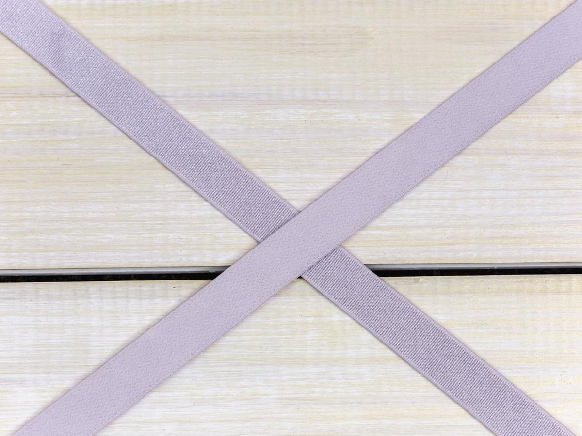 "5/8"" Lavender Fog Satin Faced Plush Back Strap Elastic By The Yard"
