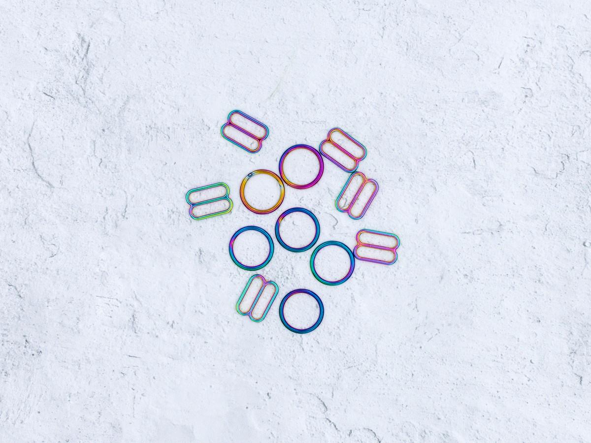 """1/2"""" Rainbow Oilslick Metal Rings and Sliders PREMIUM Nickel Free By The Set"""