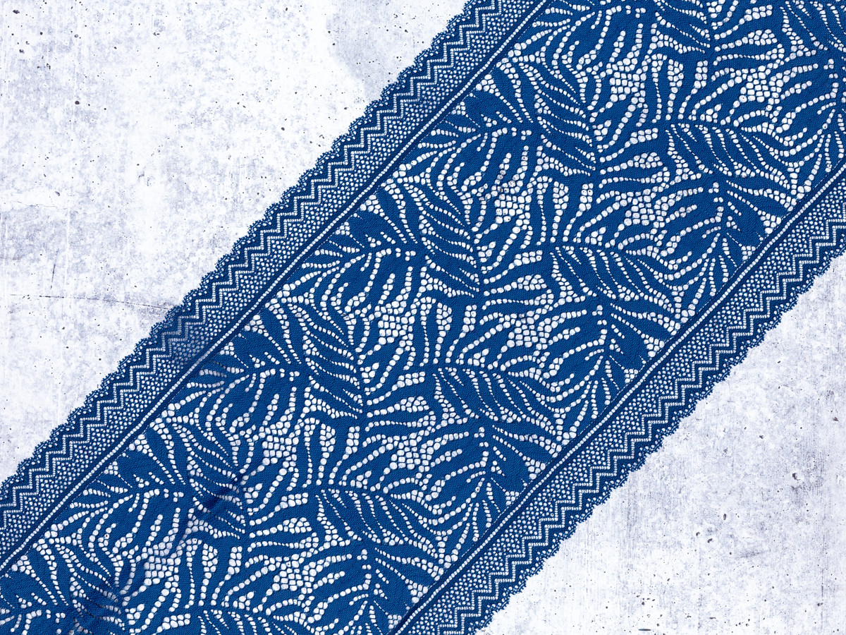 """9.5"""" Cadet Blue Floral Stretch Lace By The Yard"""