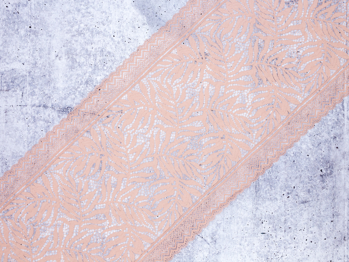 """9.5"""" Champagne Beige Floral Stretch Lace By The Yard"""
