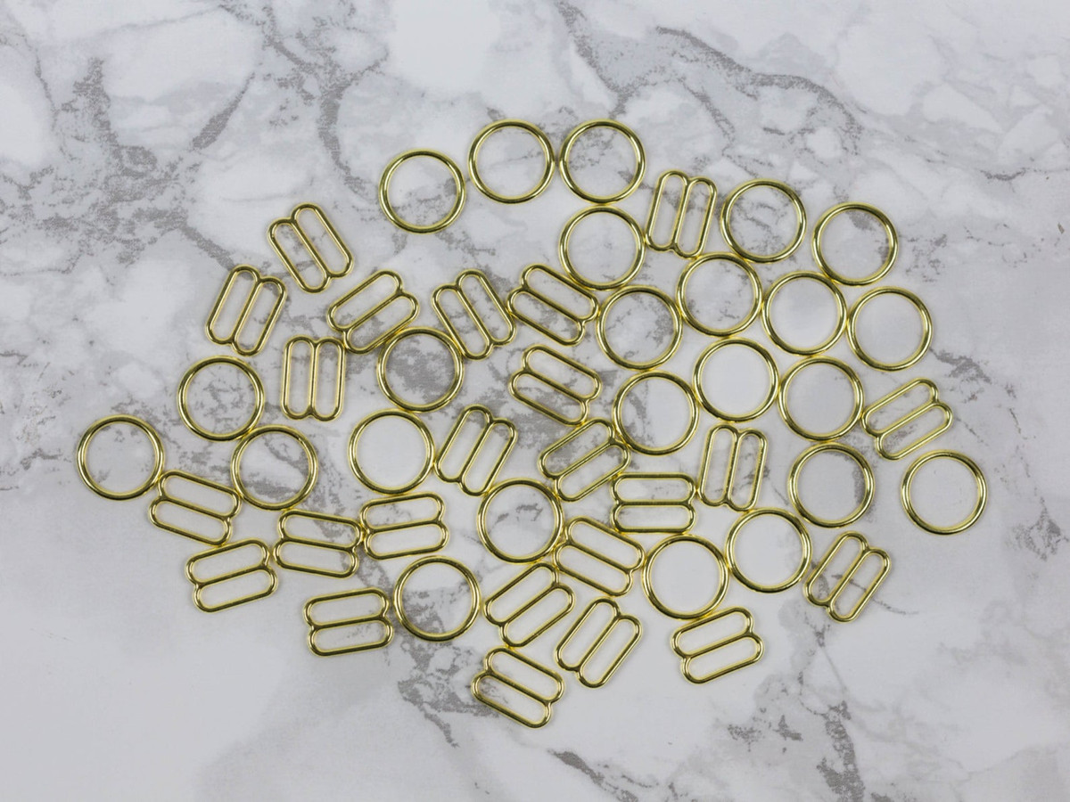 """1/2""""Gold Metal Rings and Sliders PREMIUM Nickel Free By The Set or By The Dozen"""