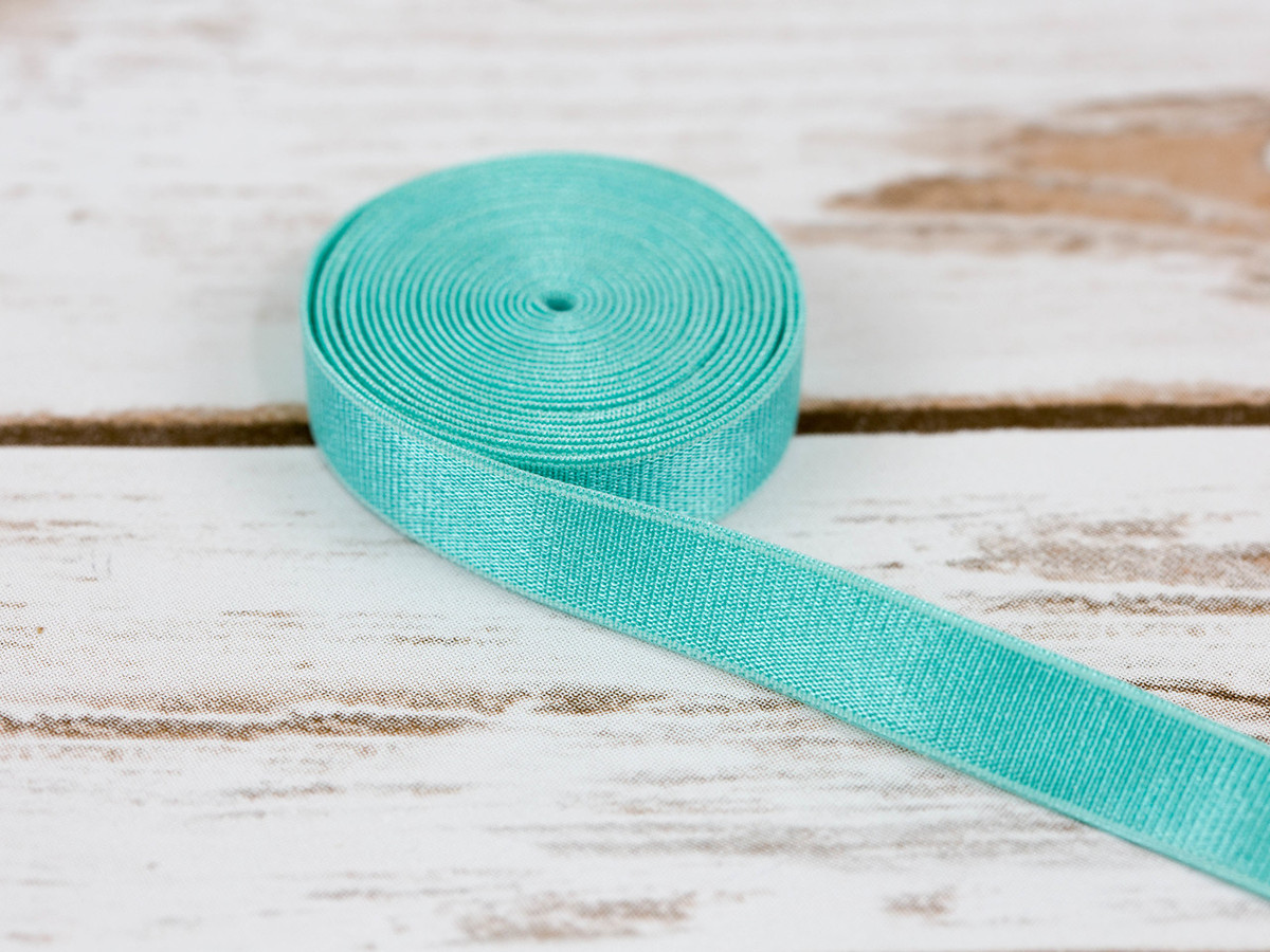 "1/2"" Aruba Aqua Satin Faced Plush Back Strap Elastic By The Yard"