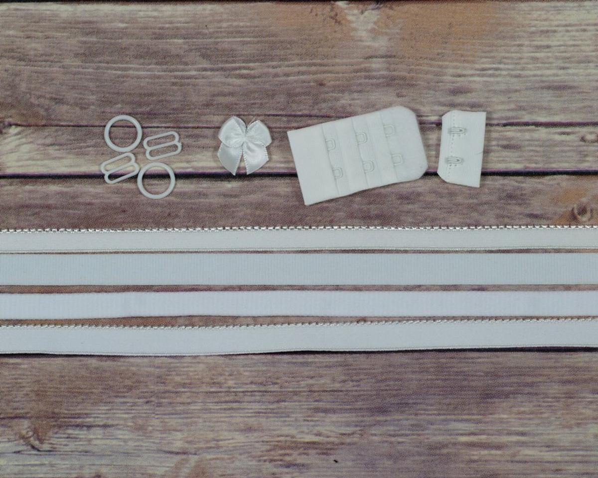 White Dyeable Bra Making Findings Kit Medium Elastics