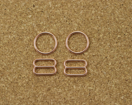"3/8"" Rose Gold Metal Rings and Sliders PREMIUM Nickel Free By The Set or By The Dozen"