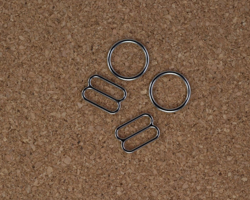 "3/8"" Silver Metal Rings and Sliders PREMIUM Nickel Free By The Set or By The Dozen"