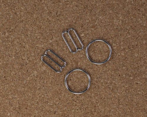 "5/8"" Silver Metal Rings and Sliders PREMIUM Nickel Free By The Set or By The Dozen"
