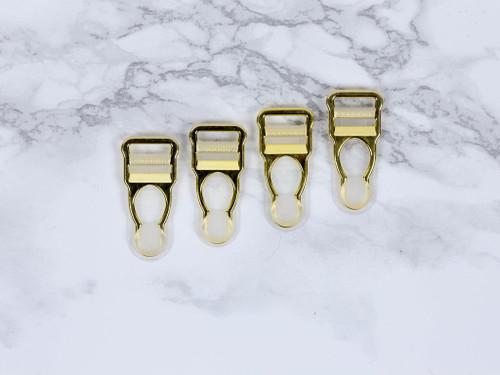 """1/2"""" Gold Garter / Suspender Clips Set of 4"""