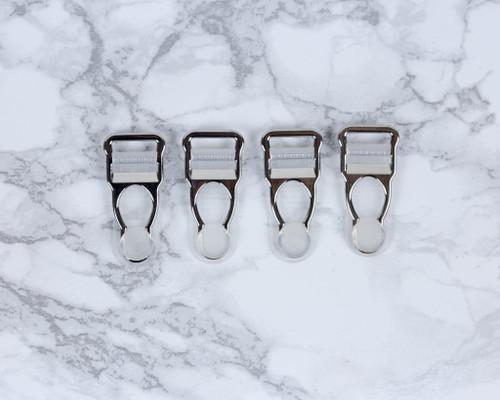 """1/2"""" Silver Garter / Suspender Clips Set of 4"""