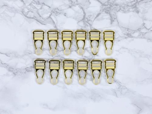 """1/2"""" Gold Garter / Suspender Clips Set of 12 Lingerie Making"""