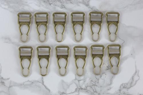 """1/2"""" Antique Bronze Garter / Suspender Clips Set of 12 Lingerie Making"""