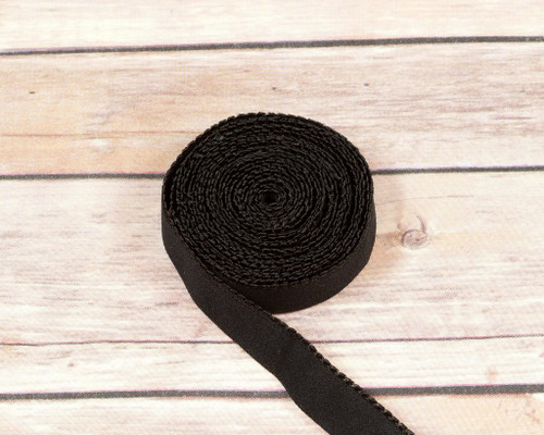"3/4"" Black Plush Back Finishing Elastic Picot Edge  Latex Free By The Yard"