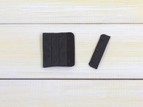 "Black 3 Hook and Eye Bra Back Closures 2.25"" x 2"""