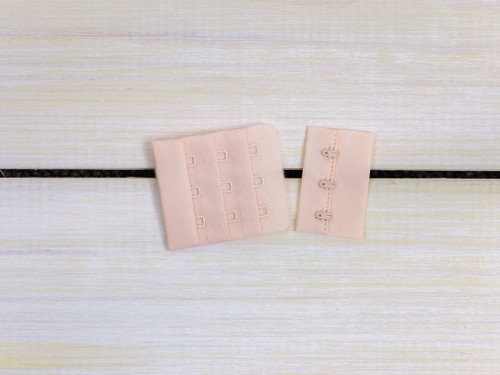 "Champagne Beige 3 Hook and Eye Bra Back Closures 1.75"" x 2"""