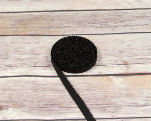 "3/8"" Black Plush Back Finishing Elastic Picot Edge Latex Free"