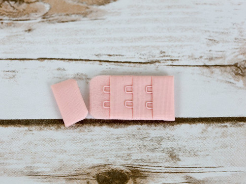 "Rose Quartz Pink 2 Hook and Eye Bra Back Closures 1"" x 2"""